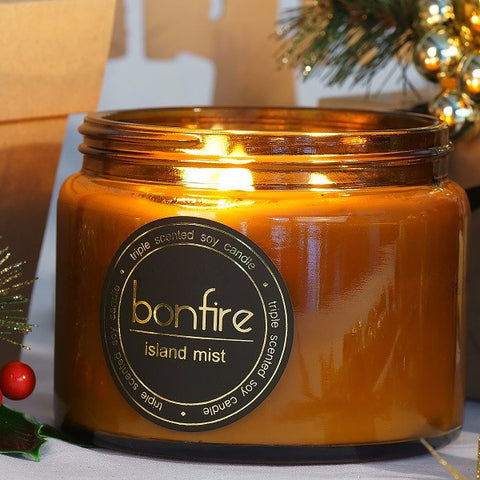 Bonfire Candle Co Island Mist 450g Soy Christmas Candle