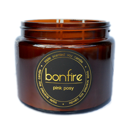 Bonfire Candle Co Soy Wax Pink Posy Scented Candle