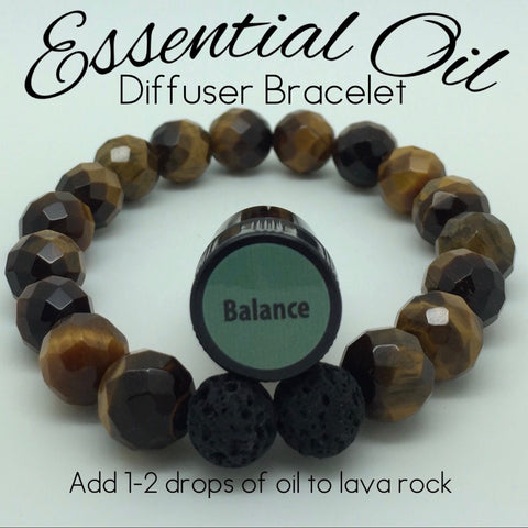 Essential Oil Diffuser Bracelet Faceted Tiger Eye