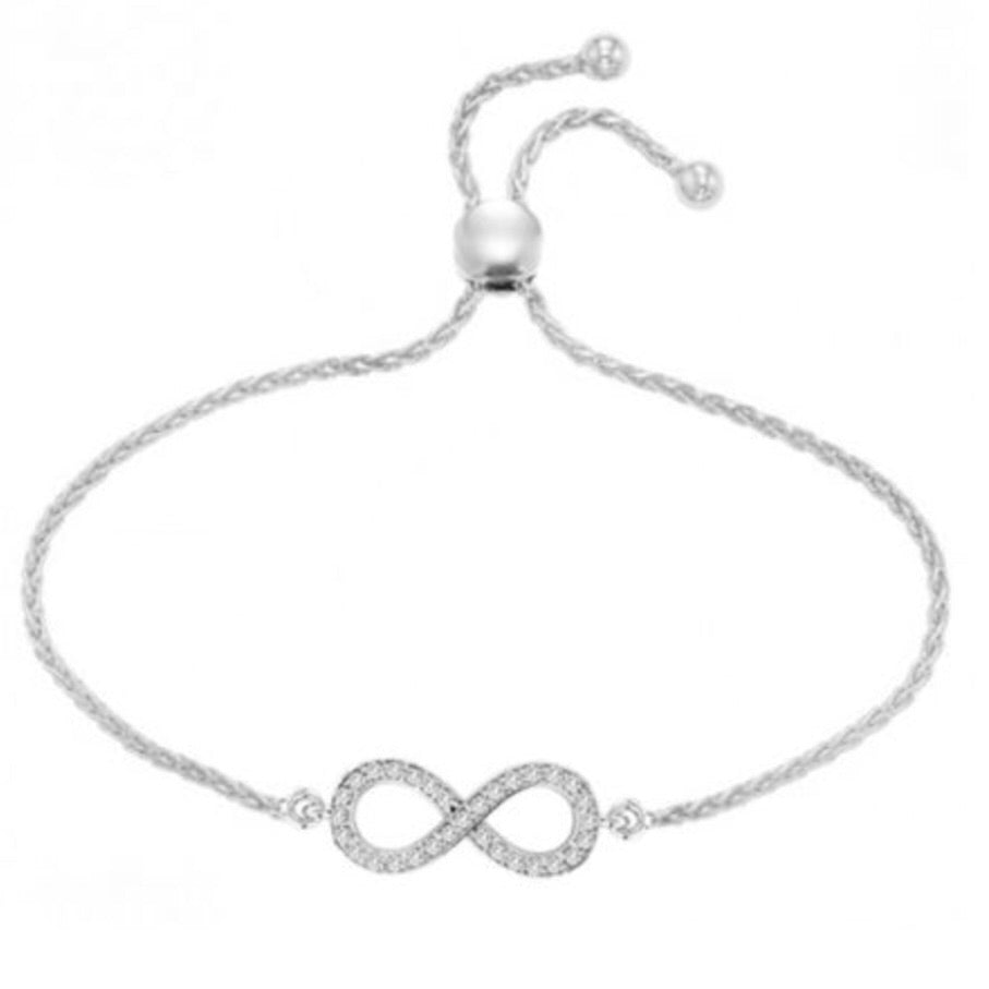 Diamond Infinity Adjustable Bracelet 0.15ctw