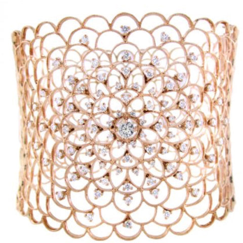 Diamond Fleur Rose Hinged Bracelet