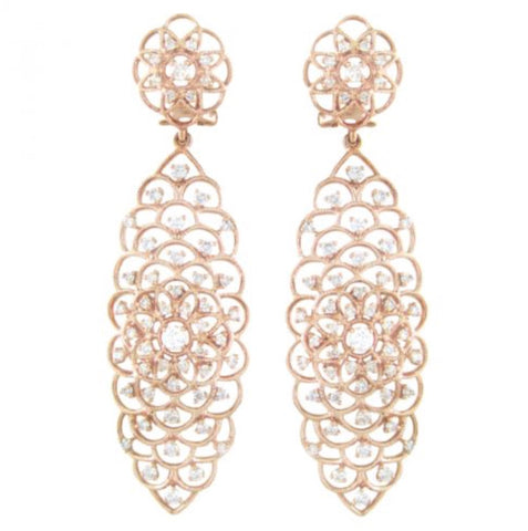 Diamond Fleur Rose Earrings