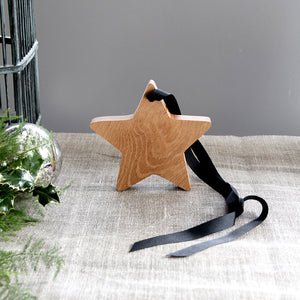 Wooden Oak hanging ribbon star