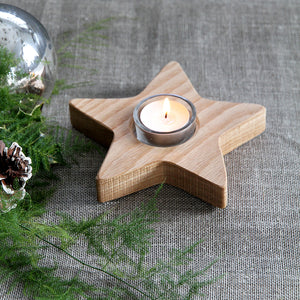 Wooden Oak Star Tea-light