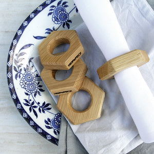 Hexagon Napkin Rings (Set of Four) - Hop & Peck