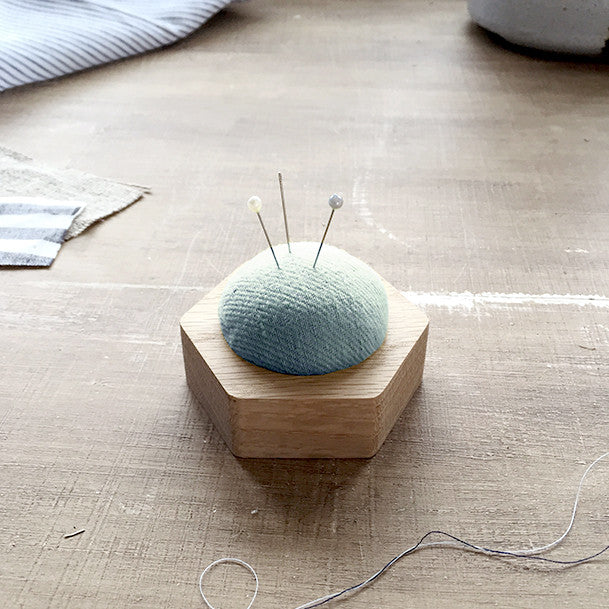 Oak & Linen Pin Cushion