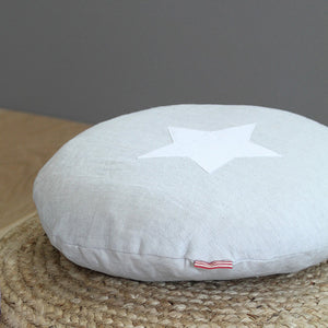 Soft linen star cushion - silver grey - Hop & Peck