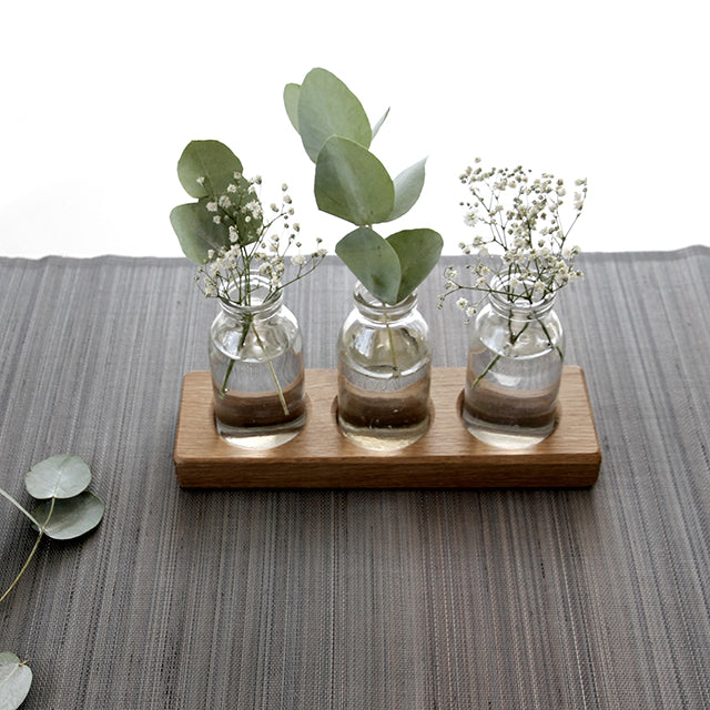 Mini Bud Vase Oak Runner
