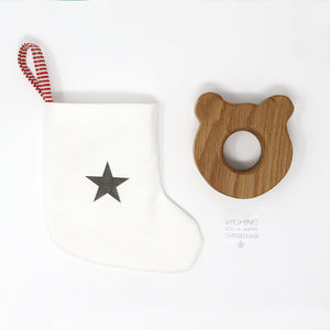 Mini Christmas Stocking and Bear Wooden Egg cup - Gift Set