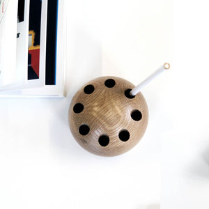 Oak sphere pencil holder
