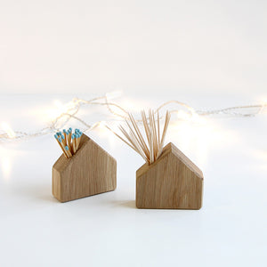 Oak House - wooden match and cocktail stick holder - Hop & Peck