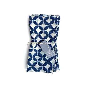 Petal print indigo blue napkins - set of 4 - Hop & Peck
