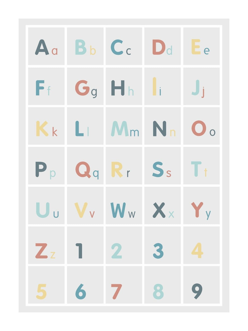 Alphabet Square poster decal - several colours.
