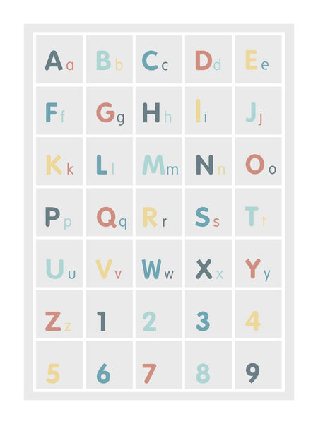 Alphabet Square poster decal - Green & coral, Minimalist
