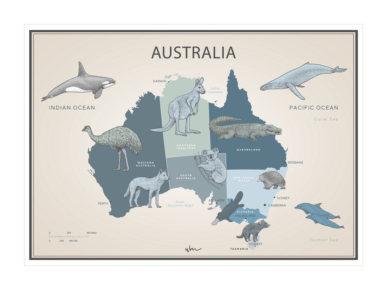 Australia Animal Map poster decal - Blues & greens Vintage Look