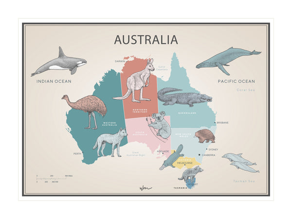 Australia Animal Map poster decal - Vintage look - Several colours.