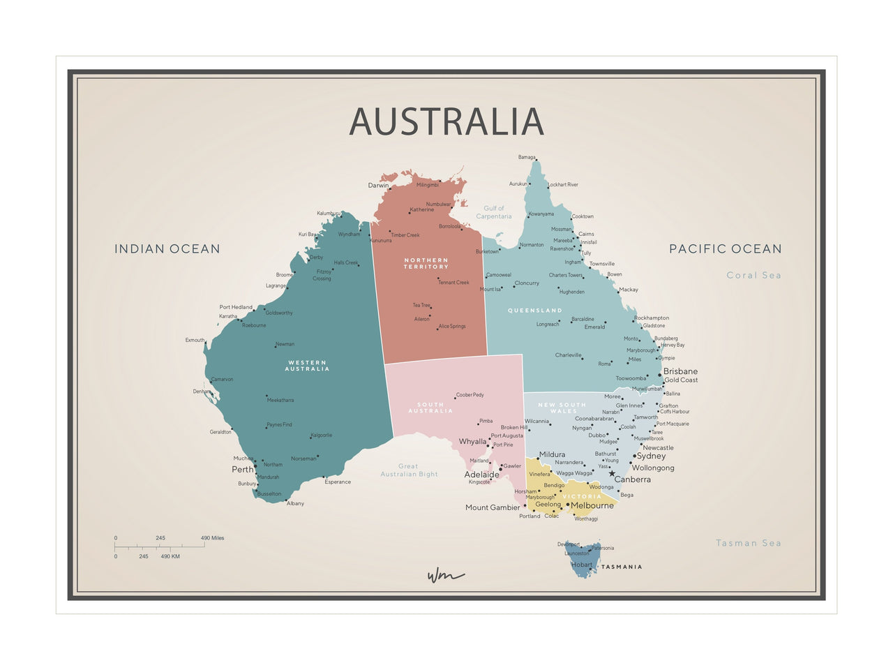 Australia Map poster decal - Brights Vintage Look