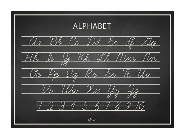 Alphabet cursive letters poster decal - Blackboard look