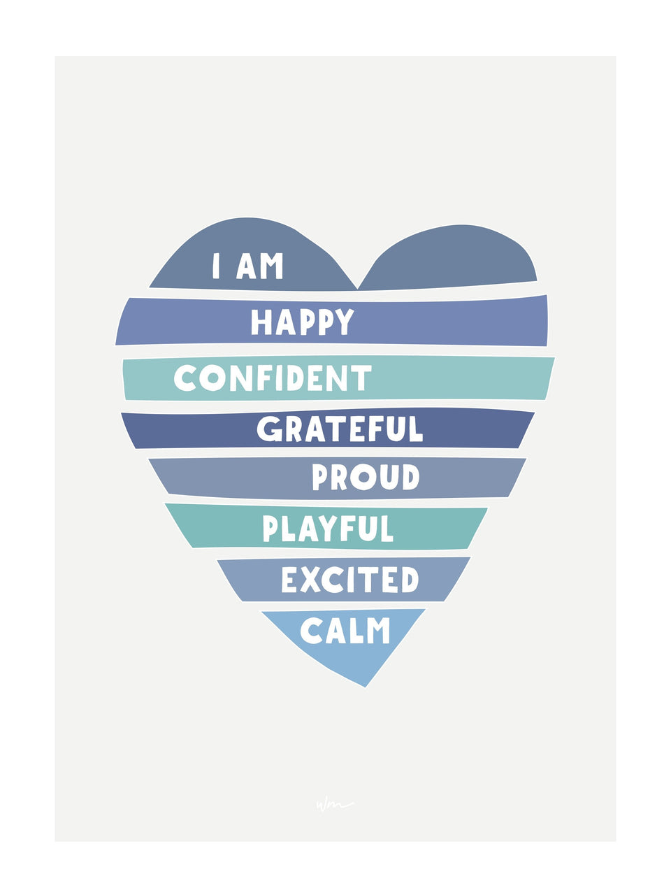 Heart affirmations poster decal - customisable
