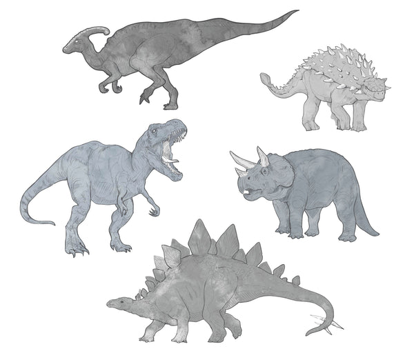 Dinosaur Set Watercolours Monochrome - Individual cut out dinosaurs.