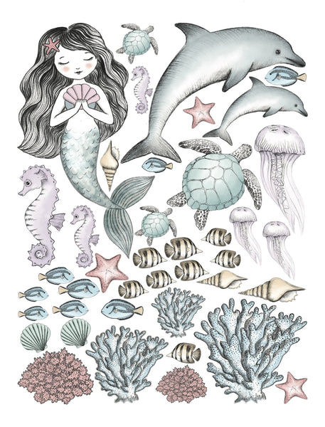 Mermaid & Sea creatures hand drawn watercolour set