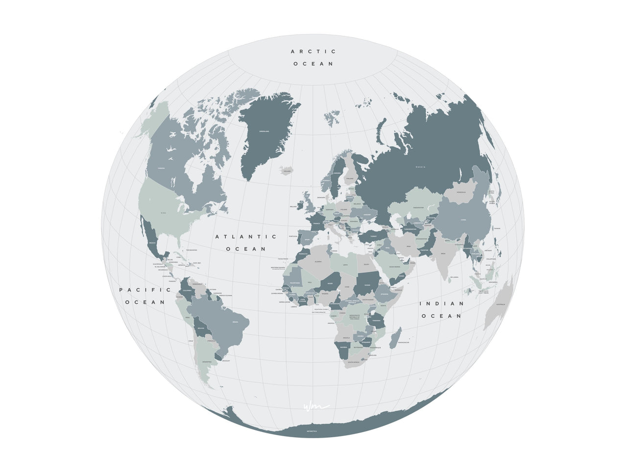Round The World Map - Neutral