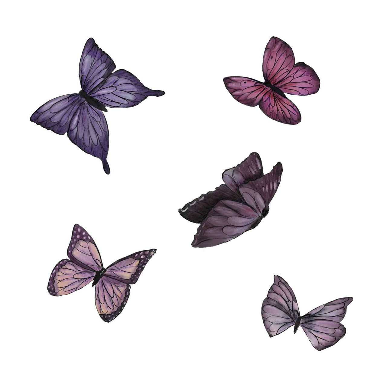 Butterfly Set hand drawn watercolour - Individual cut out butterflies