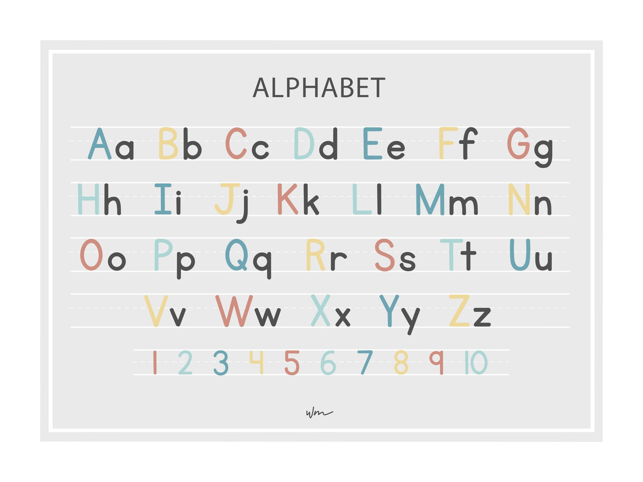 Alphabet block letters poster decal - Several colours.