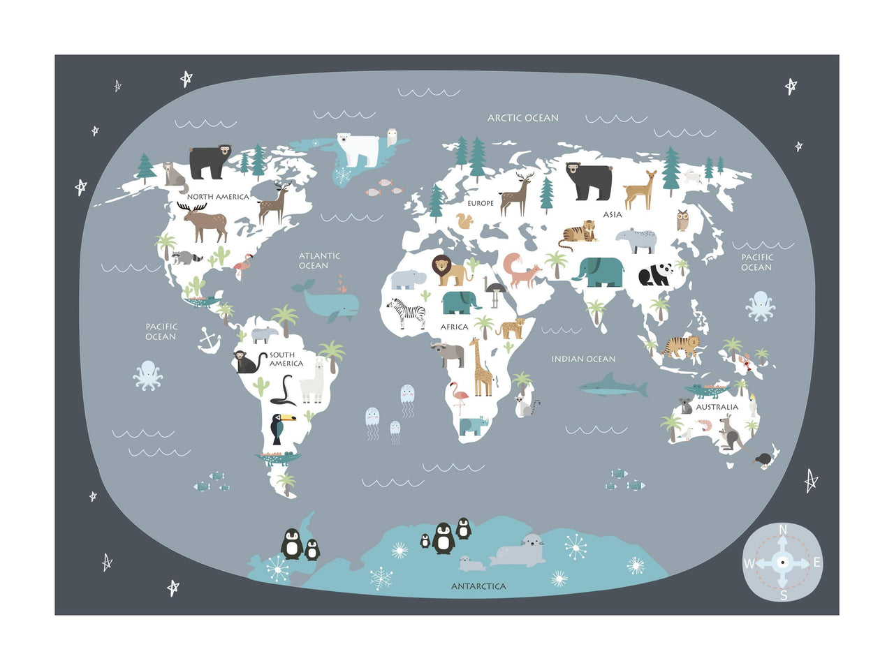 Kids World Map - Dark Grey