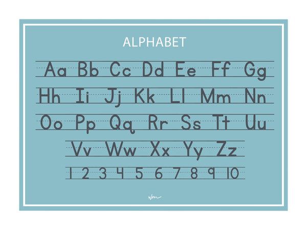 Alphabet block letters poster decal - Teal/Minimalist