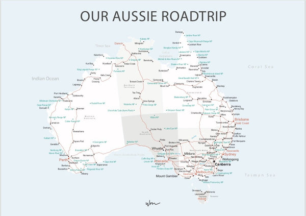 Aussie Road Trip poster decal - Neutral