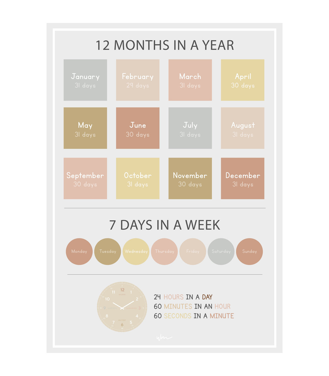 Months, Days & Time poster decal - Several colours.