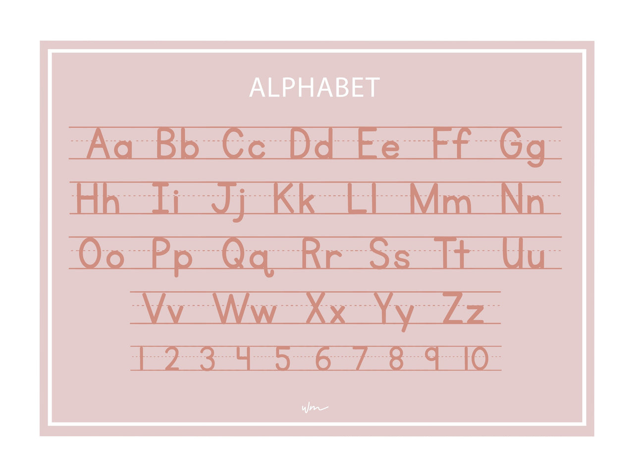 Alphabet block letters poster decal - Pink/Minimalist
