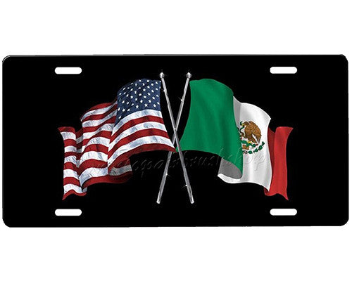 American Flag Mexican Flag License Plate Onestopairbrushshop