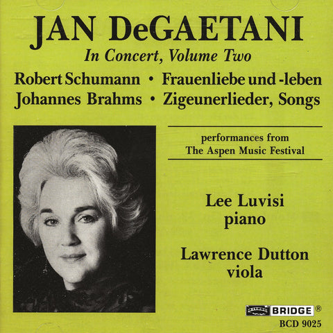 Jan DeGaetani in Concert, Vol. 2 <BR> BRIDGE 9025