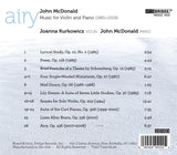 John McDonald: Music for Violin & Piano <BR> BRIDGE 9402