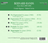 BERNARD RANDS: Piano Music 1960-2010 <BR> BRIDGE 9415