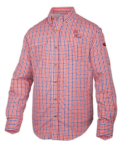 Drake - Ole Miss Gingham Plaid Wingshooter's Shirt  Long Sleeve