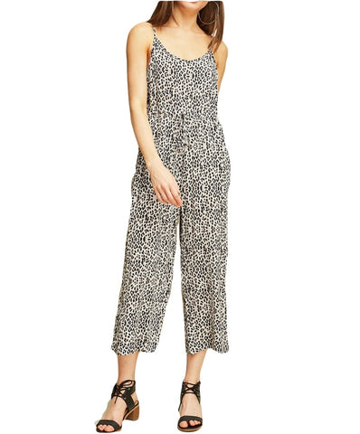Entro - R10491 - Cheetah Print Loose-Fit Pant Leg Jumpsuit