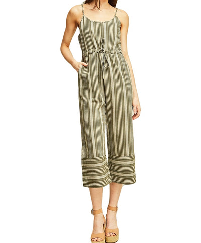 Vertical Stripe Wide-Legged Spaghetti Strap Jumpsuit