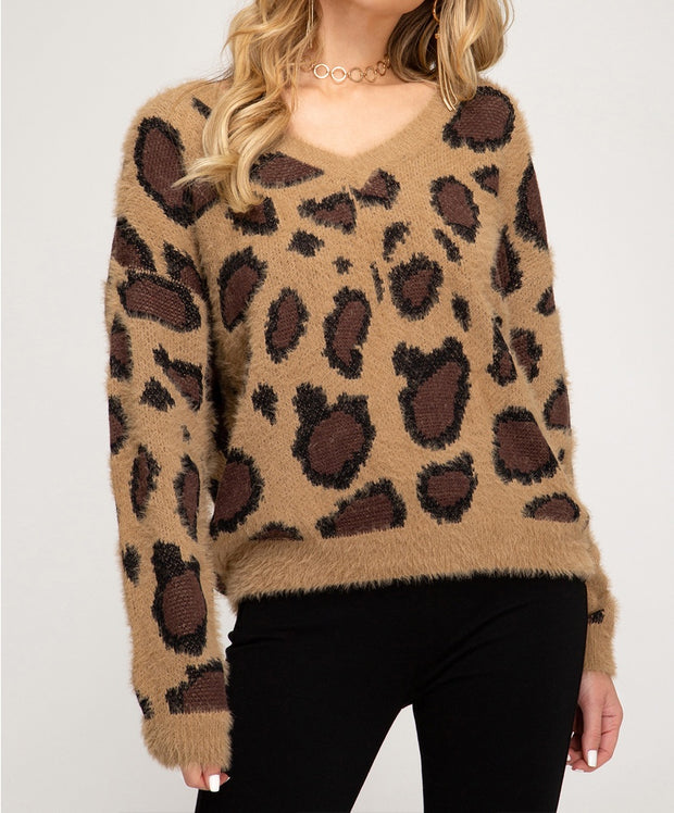 Snuggle Up Fuzzy Leopard Sweater