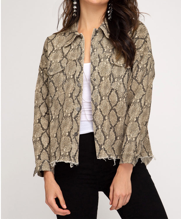Making Moves Snake Print Jacket