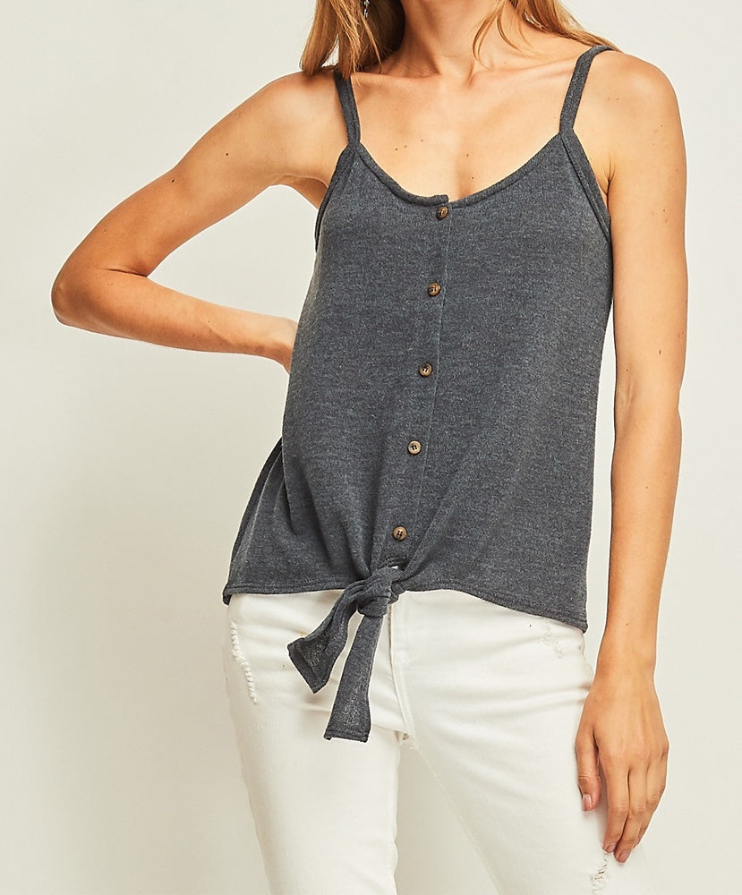 Entro - 4104 - Solid Knit Button Up Tank w/ Self Tie Detail