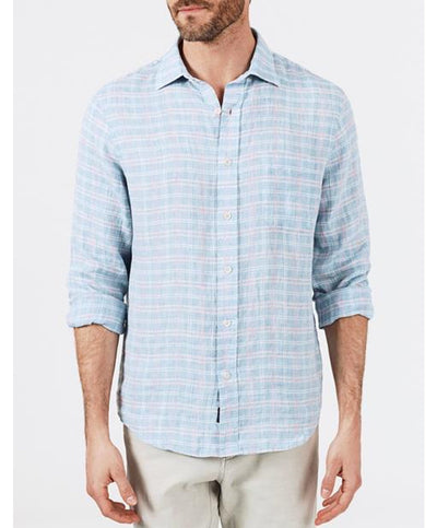 Faherty - Linen L/S Shirt - Blue Marl