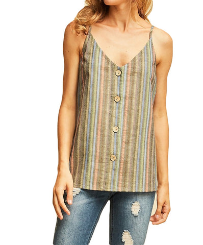 Entro - T11125 - Striped Spaghetti Strap V-Neck Top