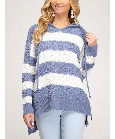 Cuddle Up Striped Popcorn Hooded Sweater