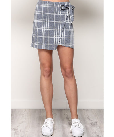 Side Tie Plaid Skirt