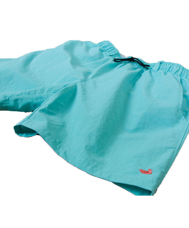 Southern Marsh - The Dockside Swim Trunk - Aqua Blue w/ Coral Duck