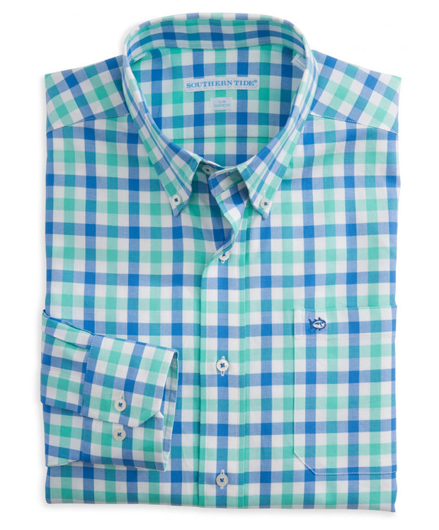 Southern Tide - Atlantic Check Sport Shirt - Bermuda Teal