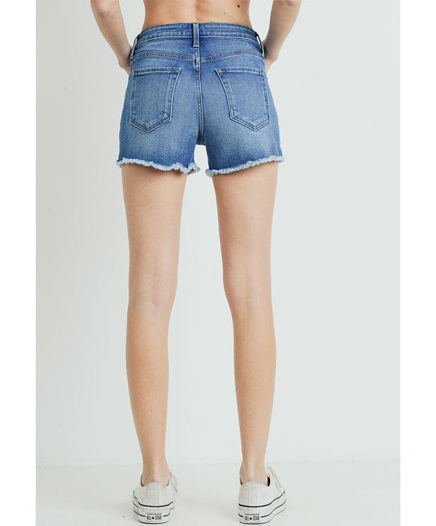 Just USA - High Rise Frayed Shorts With Slit